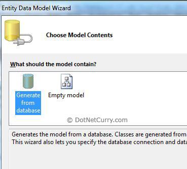 EF DataModel Wizard Choose Model