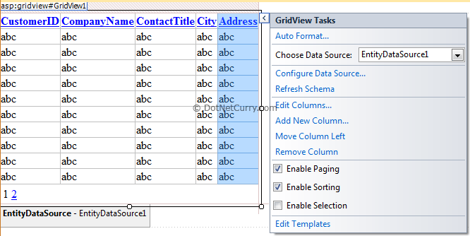 GridView Entity Data Source