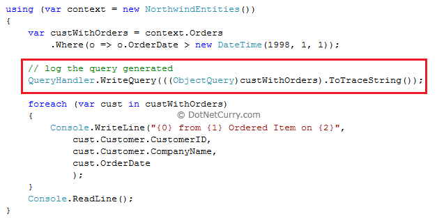 ObjectQuery To Trace String