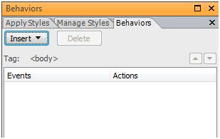 Behaviors task pane