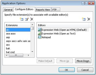Expression Web Application Options - Configure Editors tab