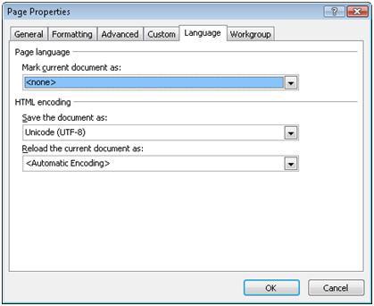 Expression Web Language tab