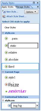 Expression Web Apply Styles taskpane