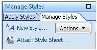 Expression Web Manage Styles taskpane