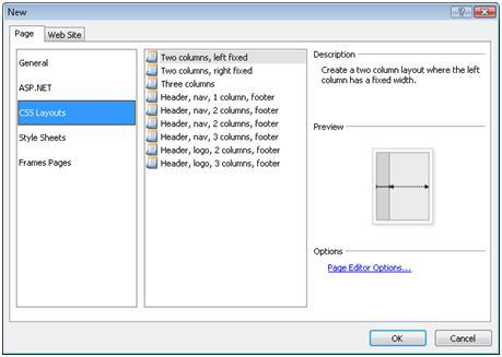 ExpressionWeb New Page dialog box