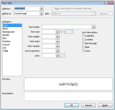Expression Web New Style dialog