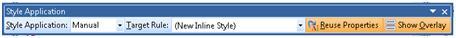 ExpressionWeb Style Application Toolbar