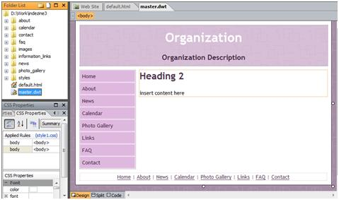 microsoft expressions templates - creating web site from built in templates in microsoft