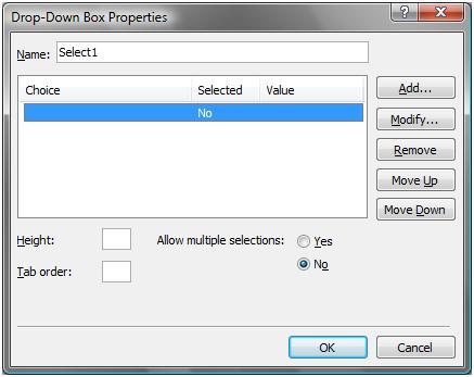 Drop Down Box Properties