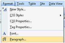Expression Web Format menu