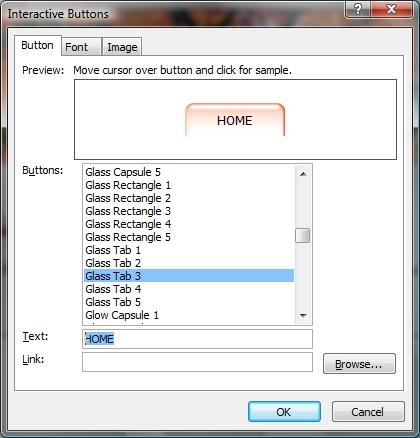 Interactive Buttons dialog box