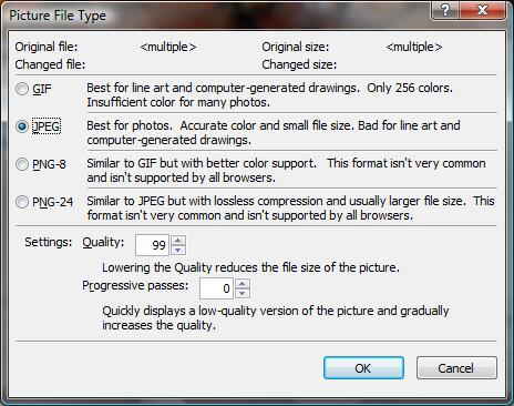 Picture File Types dialog box