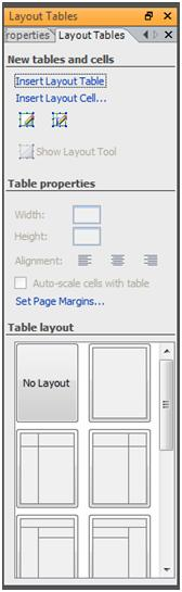 Layout Tables Task pane