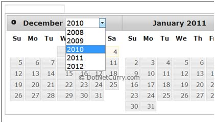 Year DropDown DatePicker