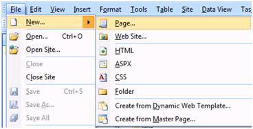 Expression Web FIle menu - New Page