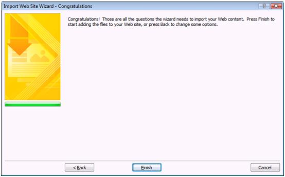 Expression Web Import Wizard finish dialog