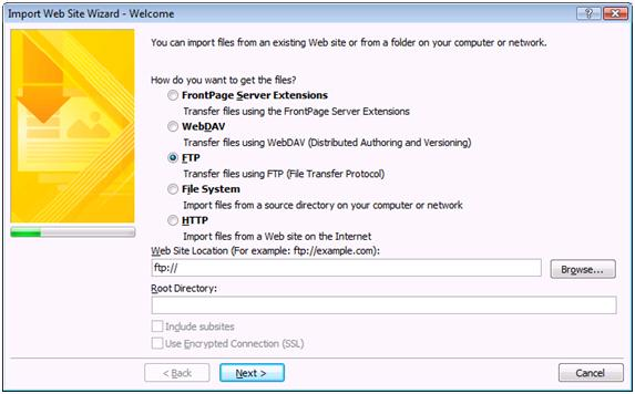Expression Web Import Web Site Wizard Welcome dialog