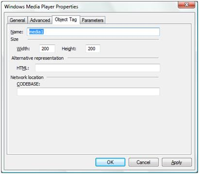Insert Windows Media to web pages in Microsoft Expression