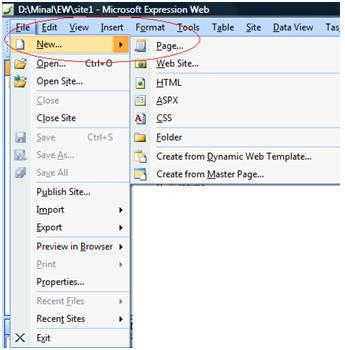 Expression Web Menus and Toolbar