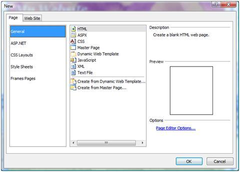 Expression Web New Page dialog box