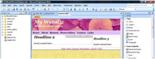 creating websites using templates in microsoft expression web