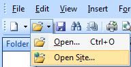 Expression Web Open Website from shortcut on toolbar
