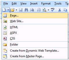 Expression Web New Page from Toolbar