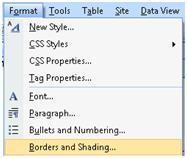 ExpressionWeb Format menu
