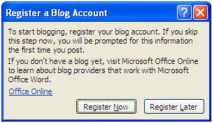 Register a Blog Account window
