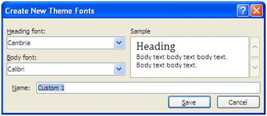 Create New Theme Fonts window