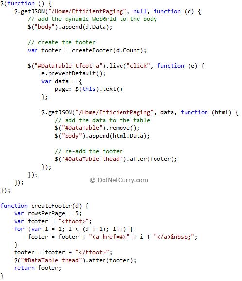 JavaScript Efficient Paging