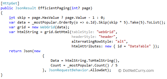MVC Json Efficient Paging