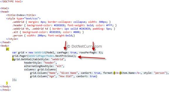 WebGrid WebHelper in ASP NET MVC 3 RC | DotNetCurry