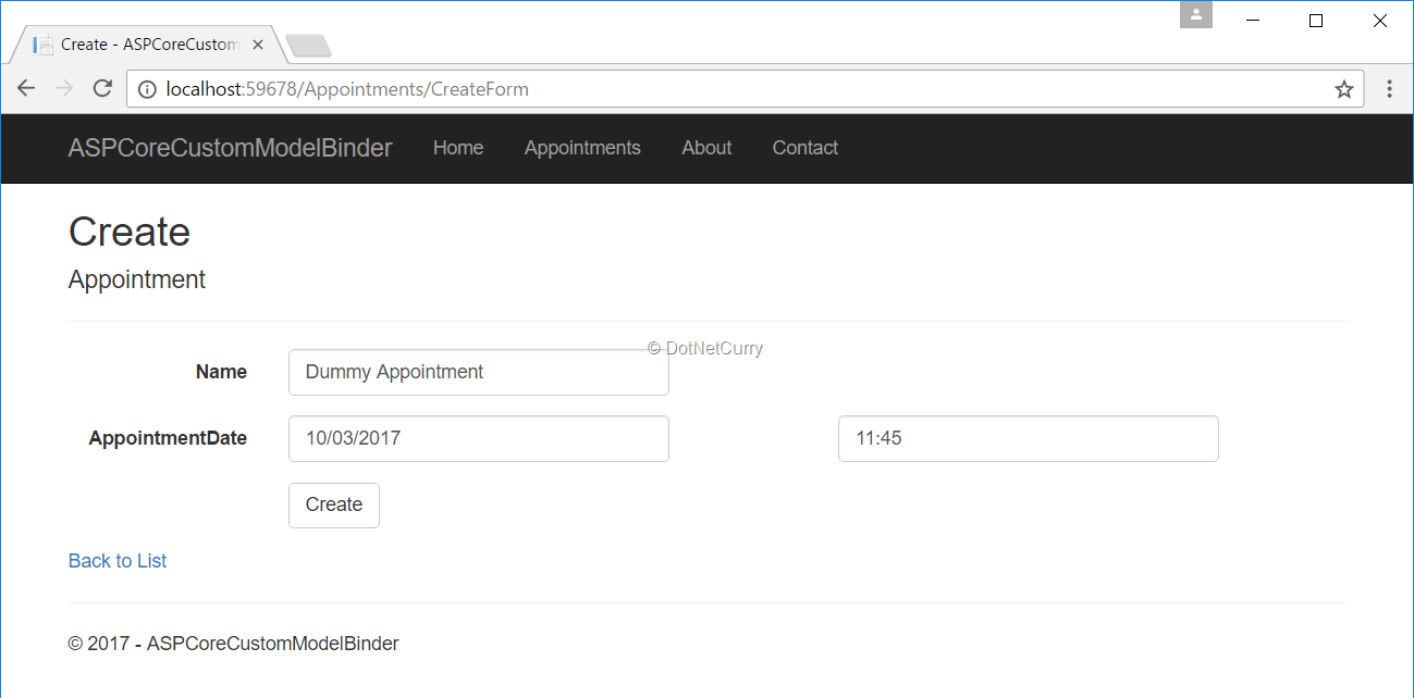 mvc-core-appointment-form