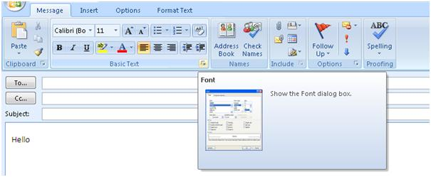 MS Outlook 2007 Basic Text group