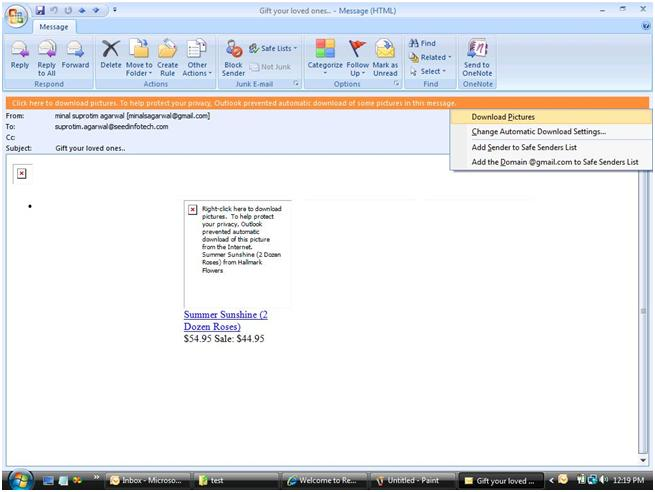 MS Outlook 2007 Blocked image