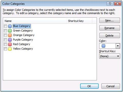 MS Outlook 2007 Color Categories dialog box