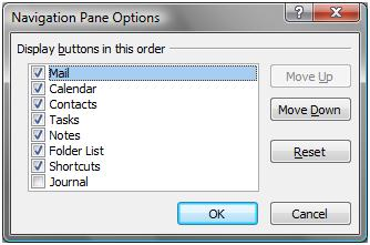 Navigation Pane Options
