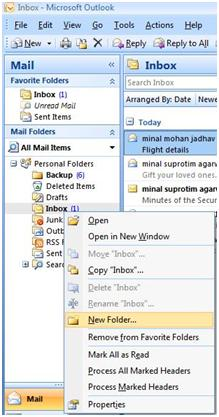 MS Outlook 2007 New Folder creation