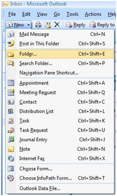 MS Outlook 2007 Create New Folder