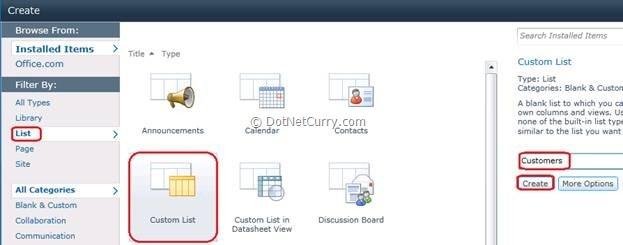 Sharepoint create dialog box