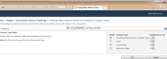 Change New Button Order