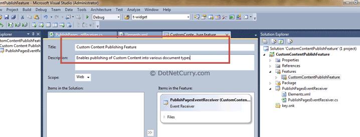 custom content publish feature