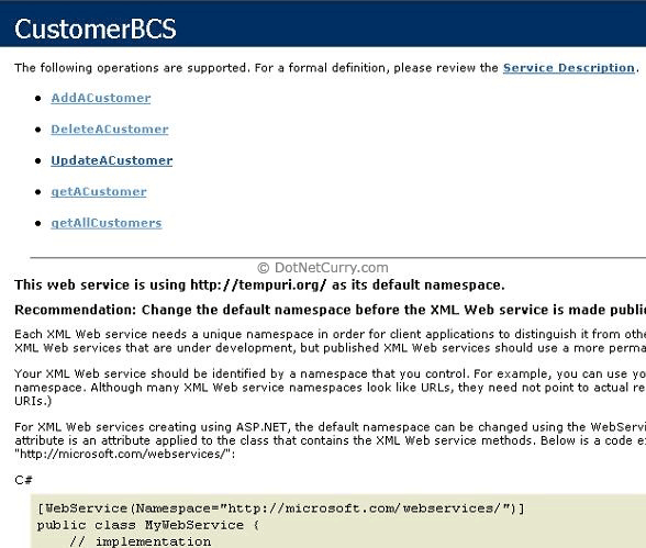 Customer BCS WebService