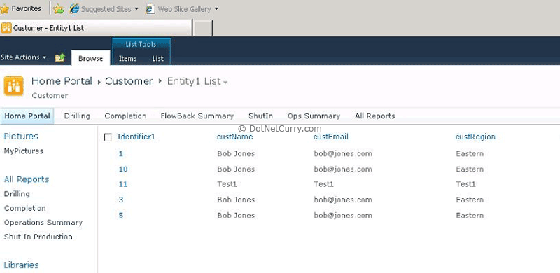 External List in Sharepoint