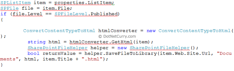 publish pages event reciever code