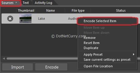 Encode Selected Item