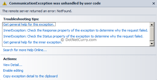 Silverlight Communication Exception
