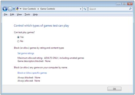 Game Controls window