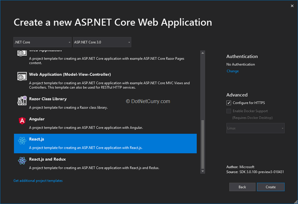 aspnet-core-spa-templates